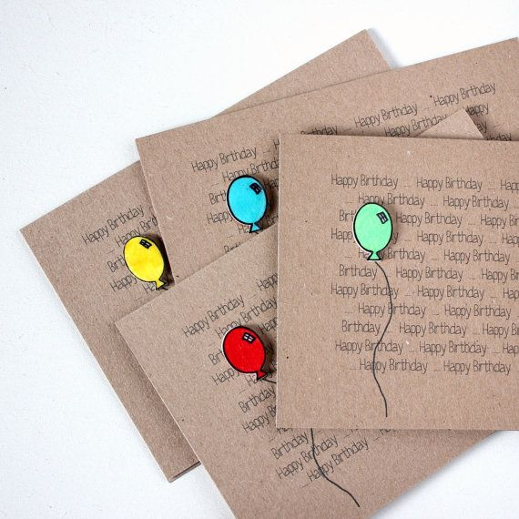 Handmade Happy Birthday Card  //  Recycled Card  //  Birthday Balloon  - Red, Yellow, Green, Blue