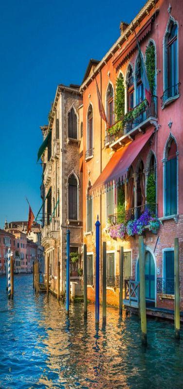 Evening in Venice, sun reflection, Italia by Riyaz Quraishi