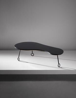 "Artist: Jean Royère Title: ""Yo-yo"" coffee table Medium: Formica-covered wood, painted steel. Dimensions: 14 x 49 x 25 1/2 in. (35.6 x 124.5 x 64.8 cm) Lot Number: 441 Estimate: US$80,000.00 - 120,000.00  Auction: DESIGN EVENING SALE Location: NEW YORK Sale Date: 13 DECEMBER 2016 Website: http://www.phillips.com Phone: US +1 212 940 1228 UK +44 20 7318 4045  Try the Phillips app for yourself -- available from the iTunes App Store http://itunes.apple.com/app/id397496674"
