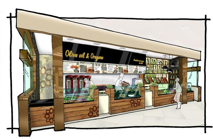 Olive Oil and Oregano - Inline counter, concept sketch/ By The Yard Creative