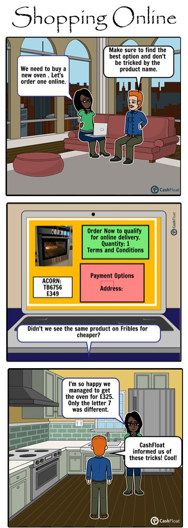 Do you find it more convenient to do your shopping online? This comic strip shows you can save money while shopping online for appliances. Find out how online shopping saves money in Cashfloat's article.