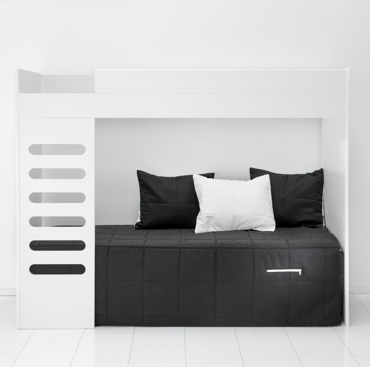 AVA loft bed is a great solution for small spaces: place your desk under the bed, or another bed to create a sofa.