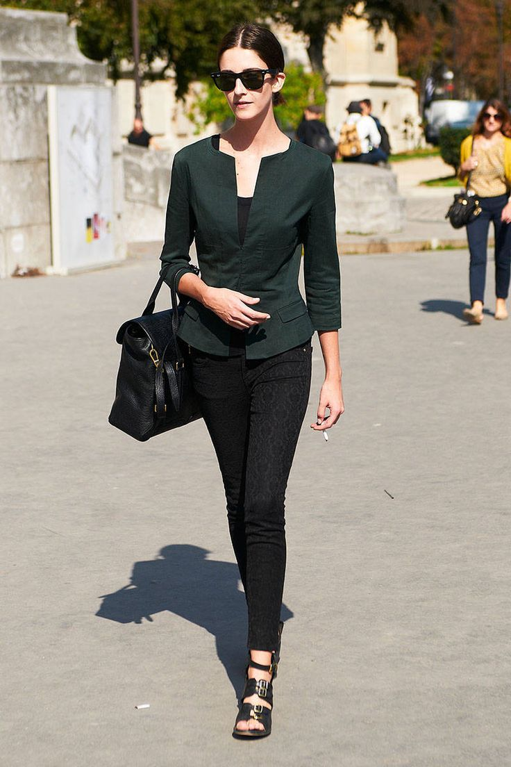 Jacket+Jeans+Heels! Love this! 7 Editor Styling Tips to Make You Look Thinner - Fashion Tips on How to Look Thinner - ELLE