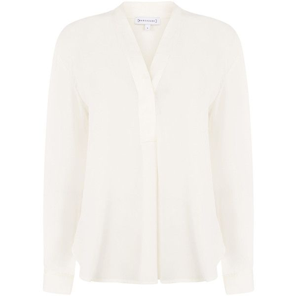 Warehouse Warehouse Long Sleeve Satin Mix Blouse Size 10 ($48) ❤ liked on Polyvore featuring tops, blouses, sexy shirts, long-sleeve shirt, sexy white blouse, white long sleeve blouse and satin shirt