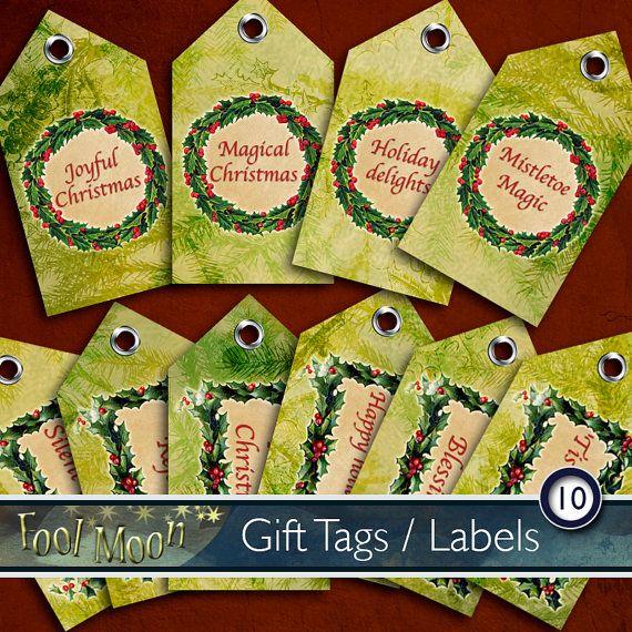 Digital gift tags xmas labels digital by FoolMoonPrintables