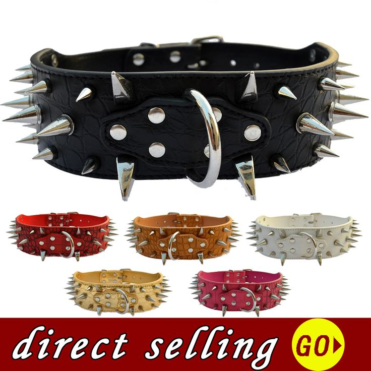 10pcs/lot Spiked Dog Collar For Pitbulls Large 2 Inch Wide Adjustable Buckle Fashion Pet Dog Health Supplies Sizes M L XL XXL #Affiliate