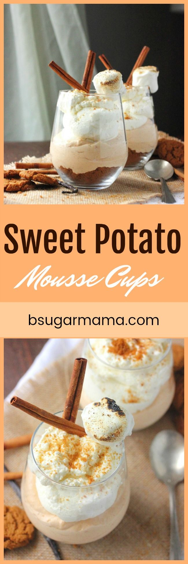 Sweet Potato Mousse Cups are a perfect dessert that is easy to make. This has a gingersnap bottom sweet potato mousse, vanilla bean whipped cream.