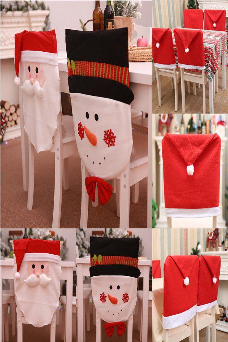 5 49 Christmas Chair Cover Santa Claus Snowman Decorations For Home Chair Back Cover Christmas Christmas Chair Christmas Chair Covers Chair Back Covers