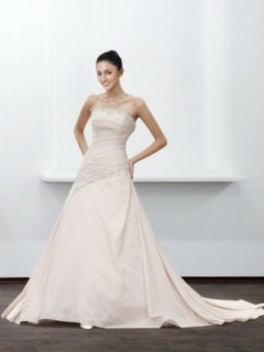 Perlenbesetzt A-Linie Schlicht Trägerlos Brautkleid mit Schleppe