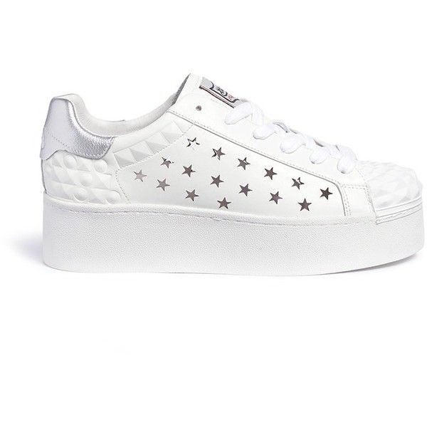 Ash 'Circus' prism perforated star leather platform sneakers ($190) ❤ liked on Polyvore featuring shoes, sneakers, white, white sneakers, perforated leather shoes, white trainers, white leather sneakers and leather shoes