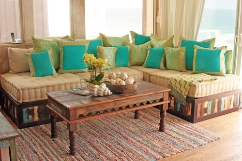 Moroccan Style Sofa in Reclaimed Wood asian sectional sofas