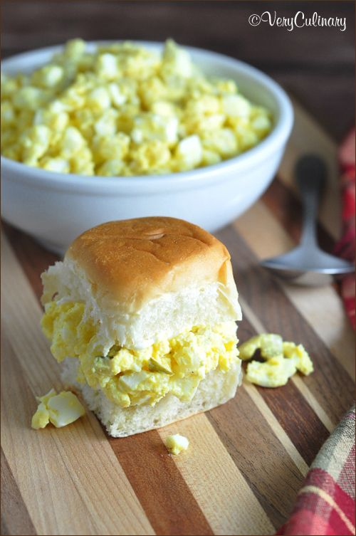 This egg salad is simple, easy, and creamy delicious. Slightly sweet, slightly tangy, and with a little crunch from dill pickles. @veryculinary