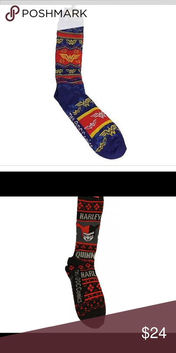Wonder Woman & Harley Quinn Deadpool Sweater Socks Harley Quinn & Wonder Woman Ugly Sweater Knee High Socks for SALE! Brand: DC Comics Fabric: 90% Polyester, 10% Spandex Size: One Size fits 9-11 which is for shoe sizes 6 to 12. Features: These thick, soft knee high socks are perfect for any DC fan! Wonder Woman is new with tags. Harley is new without tags. Never worn. Please make an offer through the offer button. Accessories Hosiery & Socks