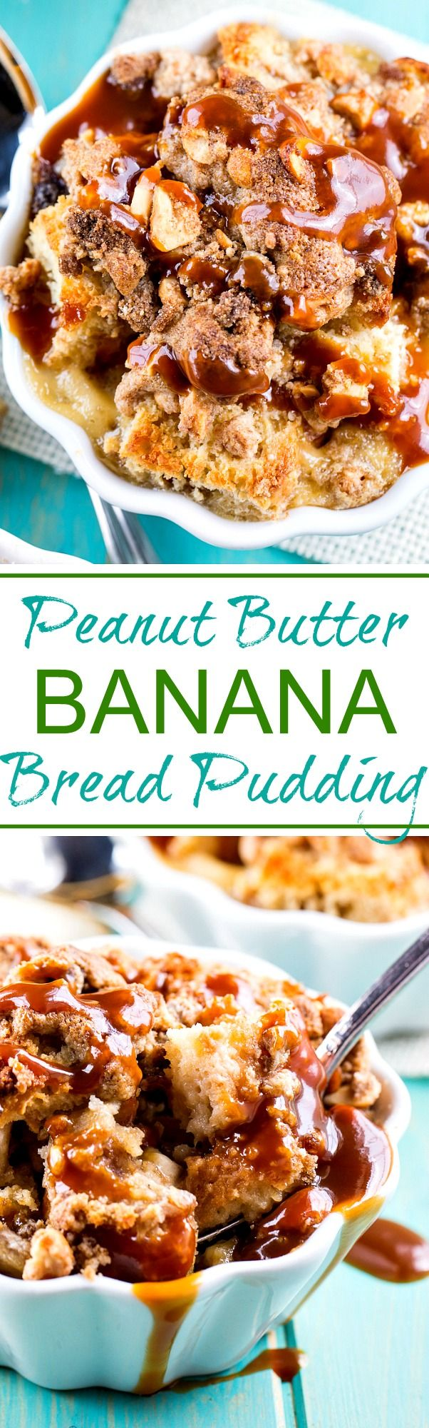 Slices of buttermilk bread are used to make peanut butter and banana sandwiches. The sandwiches are then cut into little cubes to be used for the bread pudding. You get the wonderful flavor of both banana and peanut butter in each and every bite.