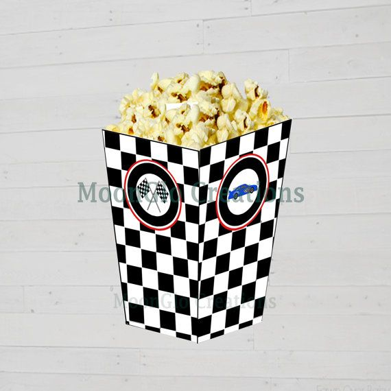 Race car theme Popcorn boxes. Birthday party by MoonGloCreations