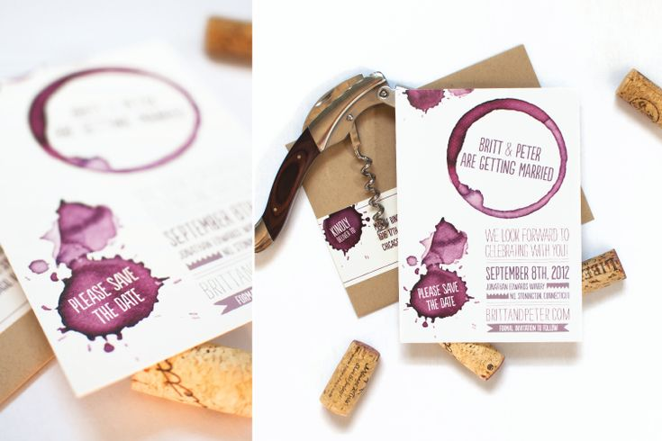 Love this Save the Date idea for wine-themed wedding!! - Coral Pheasant Stationery and Design