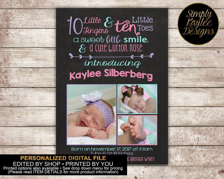 Girls Chalkboard Birth Announcement Card by SimplyKayleeDesigns on Etsy https://www.etsy.com/listing/484627372/girls-chalkboard-birth-announcement-card