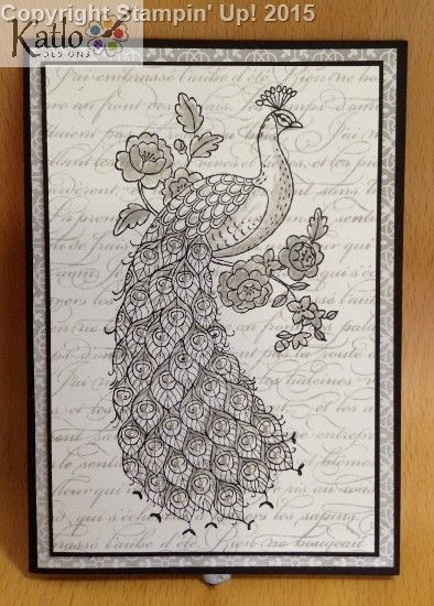 Perfect Peacock - Stampin' Up! - Another card for the 2014 Mystery Box Swap I made.