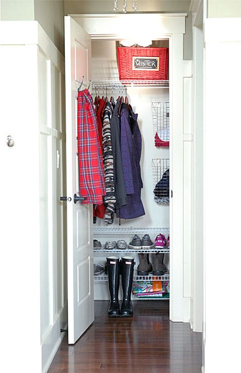 Organized Coat Closet. I like the wire shoe shelves, top shelf basket, wire baskets for mittens and hooks on the door.