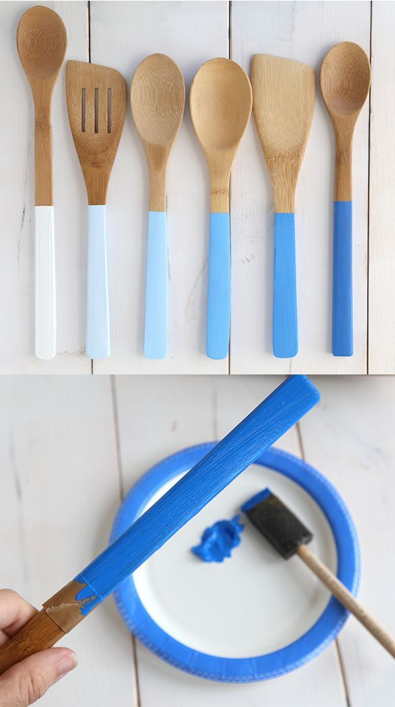 Paint wooden spoon handles in different shades to make an ombr� set. | 21 Adorable DIY Projects To Spruce Up Your Kitchen