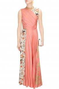 Off white and peach floral dori embroidered drape jumpsuit
