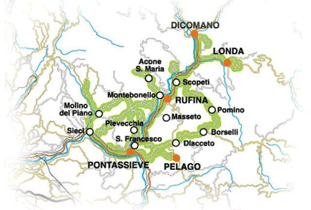 La strada dei vini Chianti Rufina e Pomino: Mappa