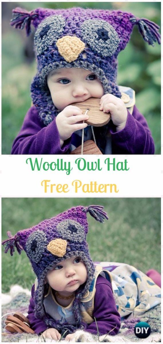 Crochet Woolly Owl Hat Free Pattern - Crochet Ear Flap Hat Free Patterns