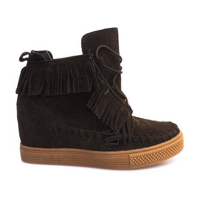 Sneakersy Na Koturnie Z Fredzlami Boho F3 Zielone Boot Shoes Women Boots Womens Boots