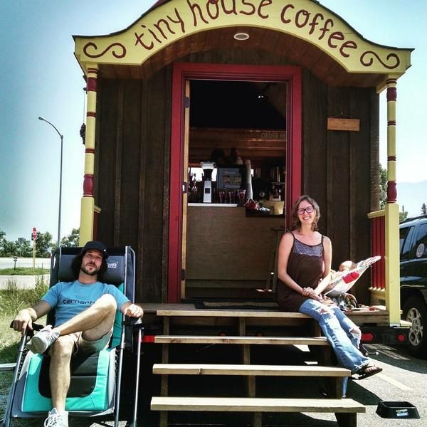 Michael and Sabra's mobile gourmet coffee shop, Tiny House Coffee, opened for business  on July 4, 2015 in Poncha Springs, Colorado Such a cool idea!