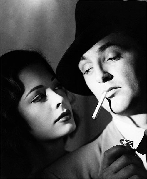 "Robert Mitchum Jane Greer in the greatest example of the femme fatale in noir, ""Out of the Past."""
