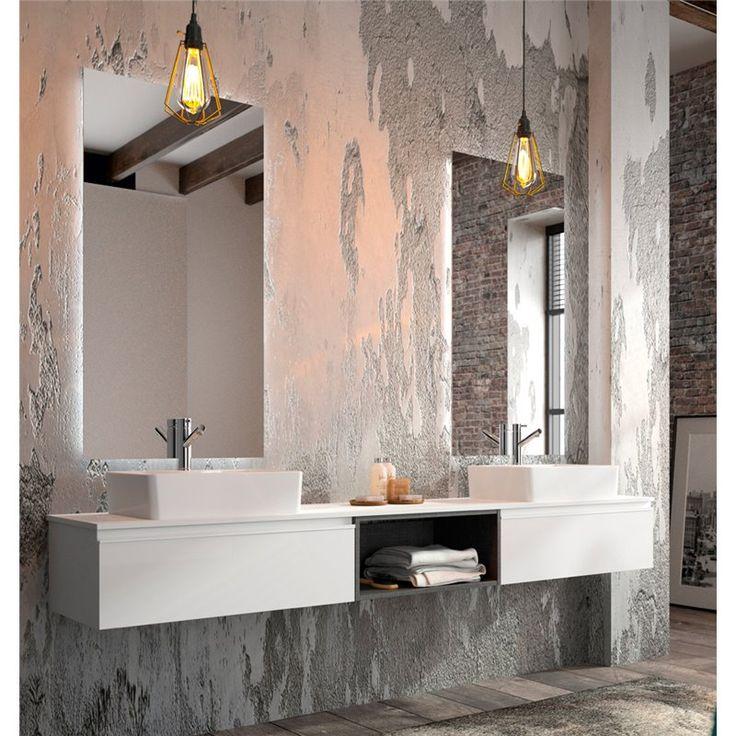 composicin de muebles de bao suspendidos con encimera y lavabos de posar xx cm