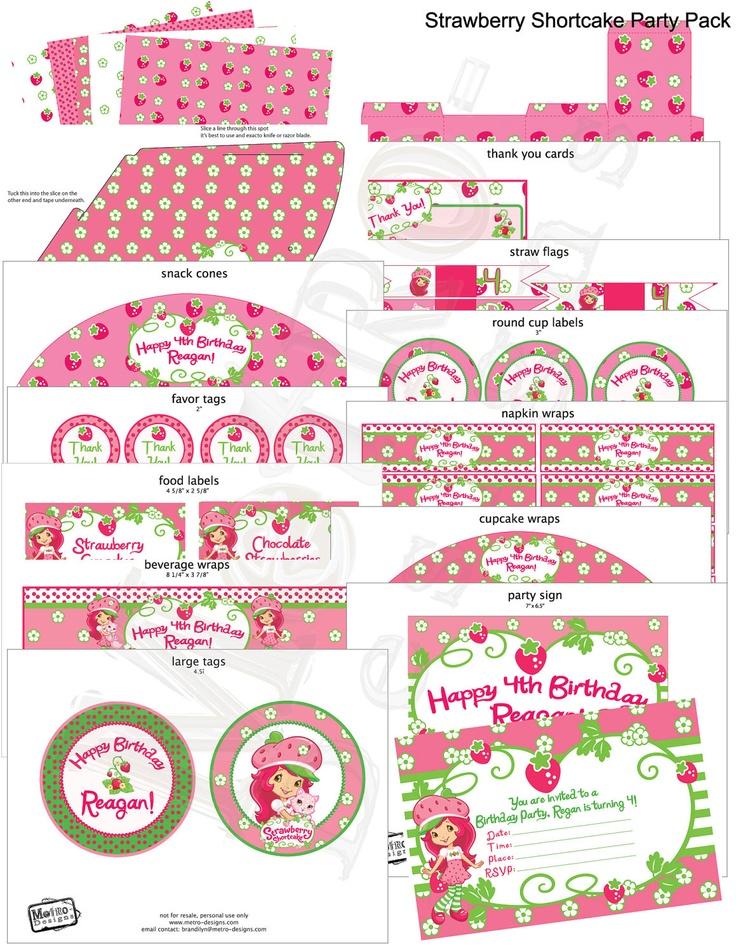 Strawberry Shortcake Custom Party Kit by MetroEvents on Etsy