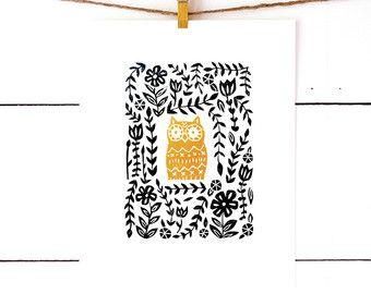 Imprimer Print hibou, chouette Decor, Woodland Nursery décor, enfants chambre Art, hibou pépinière Art, impression Lino, linogravure, impression d'Art pour les enfants, bloc Art