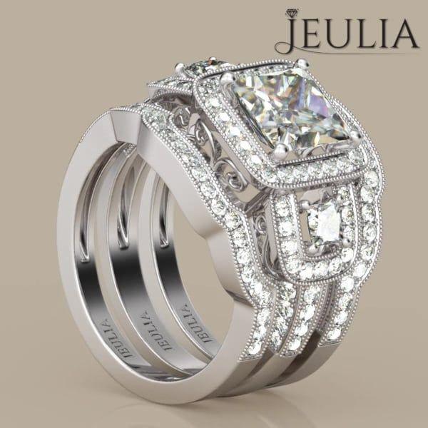 360 View of 3PC Three Stone Halo Princess Cut Created White Sapphire Wedding Set #jeulia