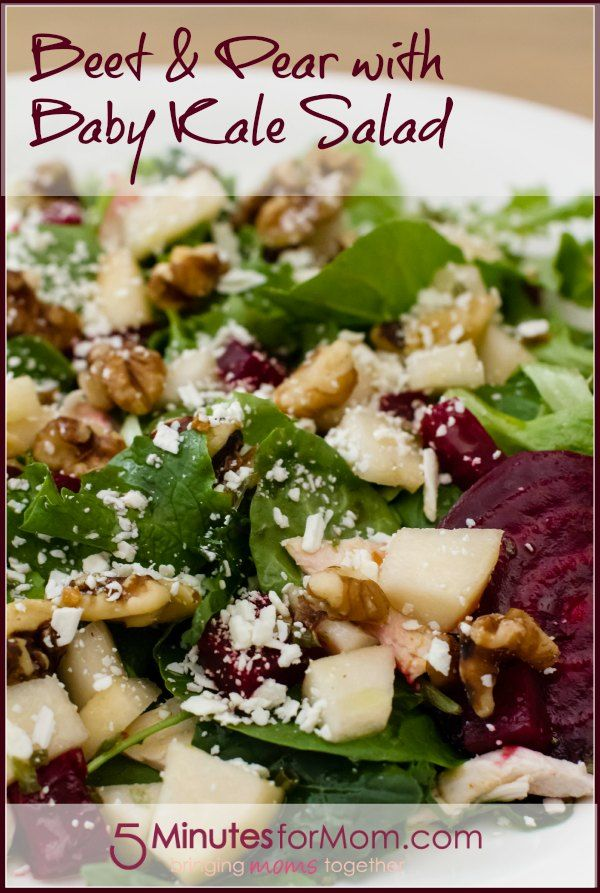 Beet and Pear with Baby Kale Salad #RecipeSpinach Salad, Kale Salad Recipe