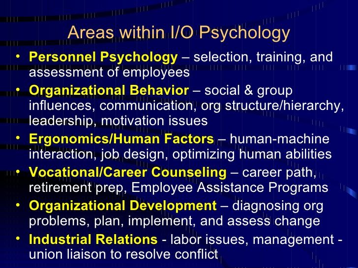 office space and industrial organizational psychology With a master of arts in industrial organizational psychology from the university of new haven, you will have the professional knowledge and experience to improve the satisfaction and productivity of people at work.