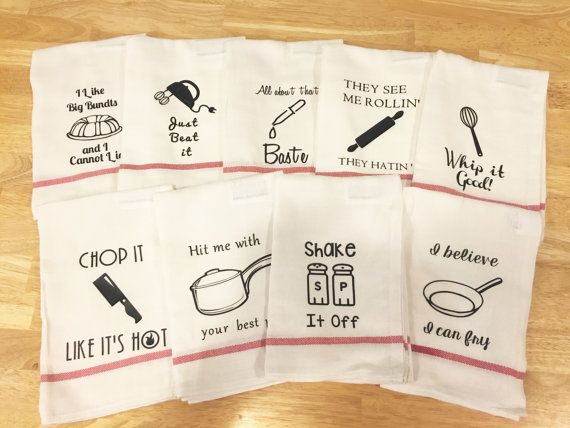 Funny Kitchen towels housewarming gift. 9 sayings kitchen puns chop it like its hot, all about that baste, whip it good, j