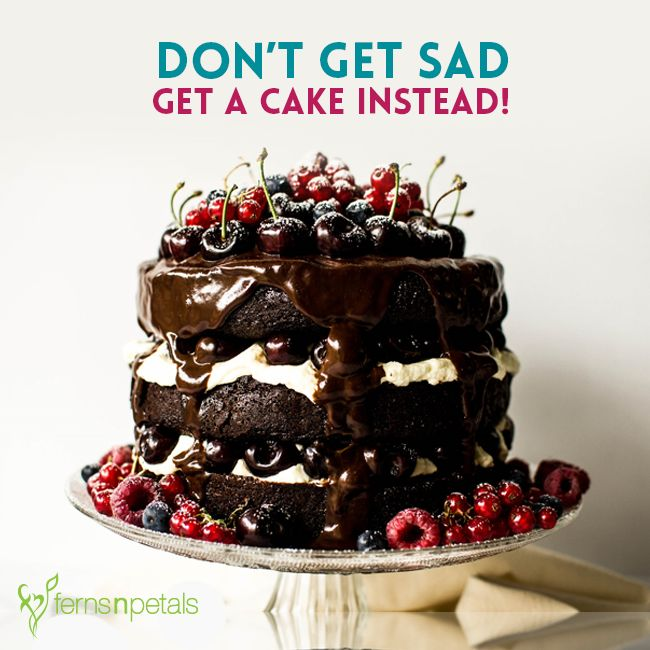 Cake is the best remedy for sadness! #cake #delicious #chocolate #fernsnpetals #cakealong #bakealong #bakinglove #giftcakes
