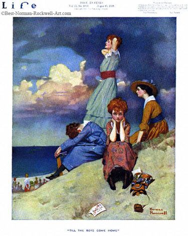 """""""Till the Boys Come Home"""" 8/15/1918 aka. """"""""Women Sitting By Edge of Sea"""" by Norman Rockwell for Life Magazine, cover"""