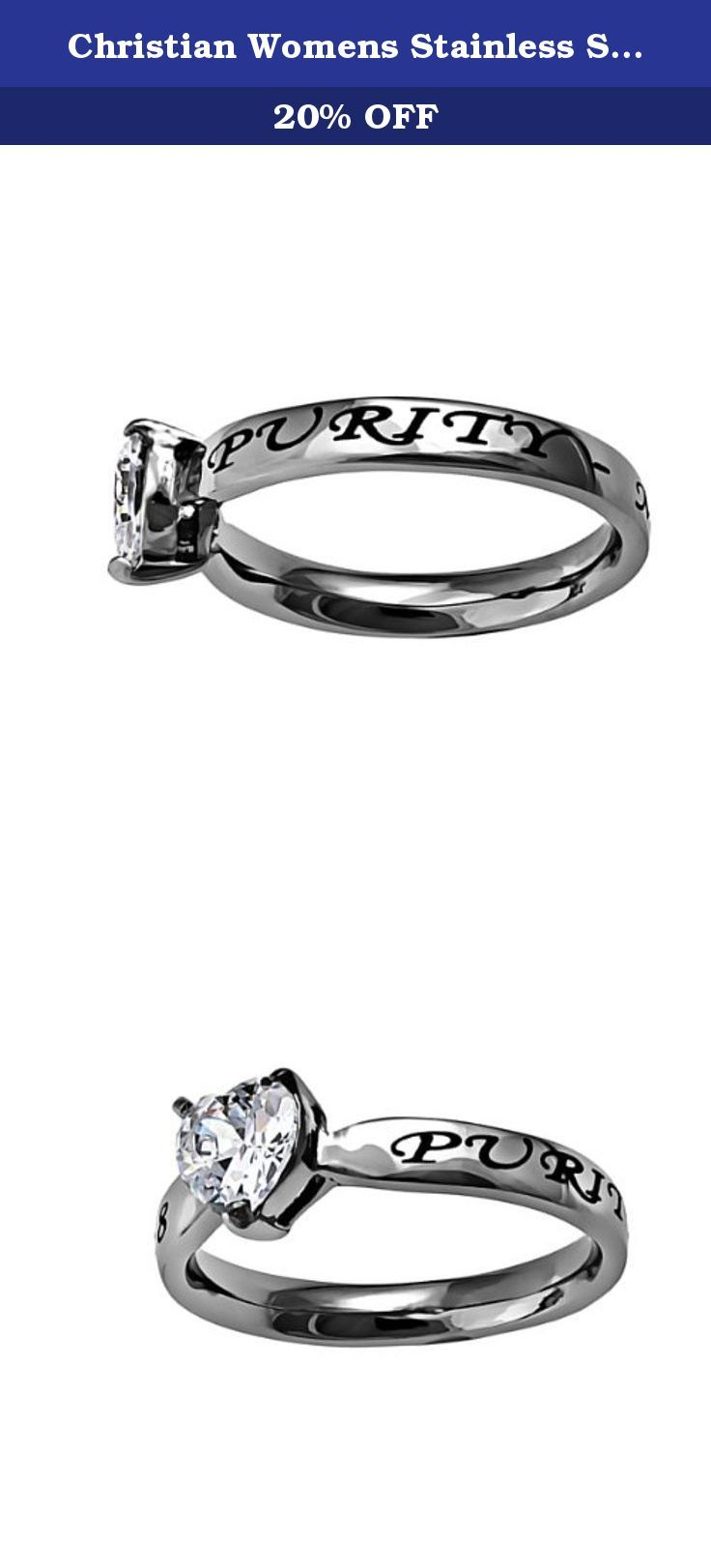 """Christian Womens Stainless Steel Abstinence 3mm Matthew 5:8 """"Purity"""" CZ Heart Solitaire Chastity Ring for Girls - Girls Purity Ring - Comfort Fit Ring Size 7. Stainless steel petite band with large heart cut cubic zirconium stone Engraved scripture with black enamel filling on back side of ring reads, """"Purity - Matthew 5:8""""."""