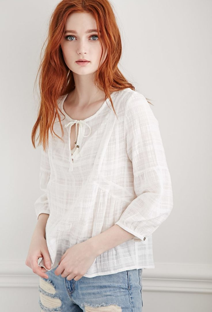 Product Name:Windowpane Patterned Peasant Top Category