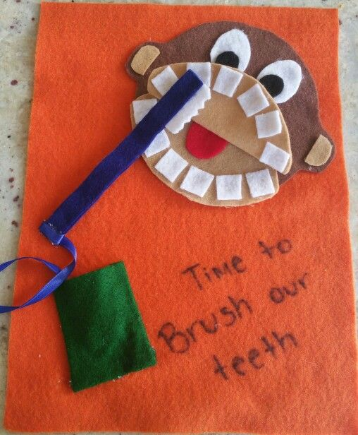 Monkey Brushing Teeth Quiet Book Page