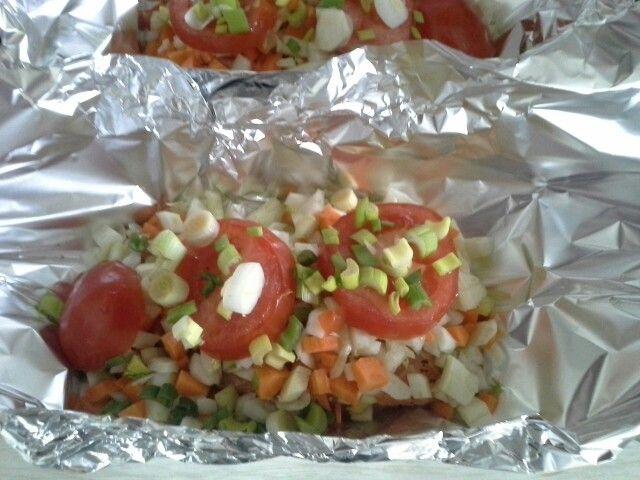 Saumon en papillote et légumes