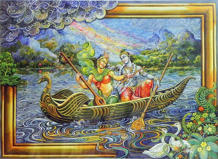 Radha Krishna Enjoying Boat Ride (Reprint on Paper - Unframed)