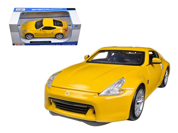 2009 Nissan 370Z Yellow 1/24 Diecast Model Car by Maisto - Brand new 1:24 scale diecast model car of 2009 Nissan 370Z Yellow die cast car model by Maisto. Brand new box. Rubber tires. Has opening hood and doors. Made of diecast with some plastic parts. Detailed interior, exterior, engine compartment. Dimensions approximately L-7.5, W-3, H-2.5 inches. Please note that manufacturer may change packing box at anytime. Product will stay exactly the same.-Weight: 2. Height: 6. Width: 11. Box…