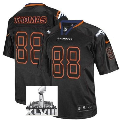 585431f7d Nike Denver Broncos 88 Demaryius Thomas Black Lights Out Elite 2014 Super  Bowl ...