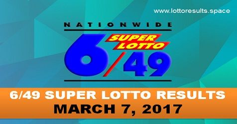 6-49 SUPER LOTTO RESULTS MARCH 7, 2017 TUESDAY