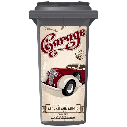 Old Time Garage Wheelie Bin Sticker Panel