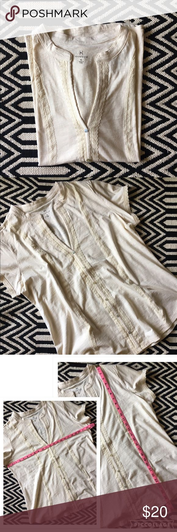 Hannah cream short sleeve top NWT. Hannah white smoke short sleeve top. Size XL. Body & trim 100% cotton. Hannah Tops Tees - Short Sleeve