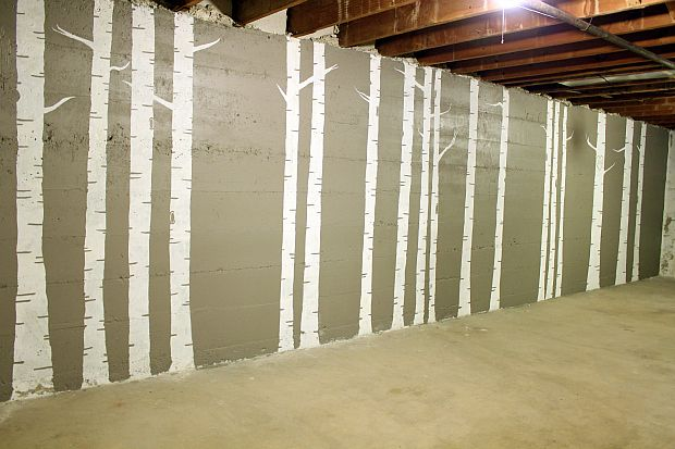 Unfinished basement diy birch tree forest mural for for Diy birch tree mural
